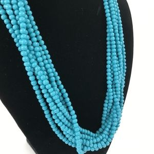 Blue Multi-Strand Beaded Statement Necklace